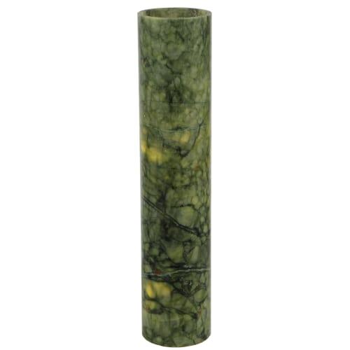 """Meyda Tiffany 123463 3.4"""" W X 15.75"""" H Jadestone Dark Green Flat Top Candle Cove by Meyda"""