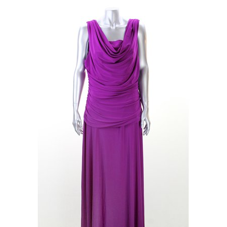Nightway Plus Size Plum Plus Size Sleeveless Draped Gown 16W Msrp