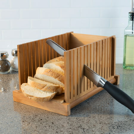 Bamboo Bread Slicer- Foldable, Adjustable Knife Guide and Board for Cutting Loaves Evenly- Perfect Food Prep Tool for Home Bakers by Classic Cuisine ()
