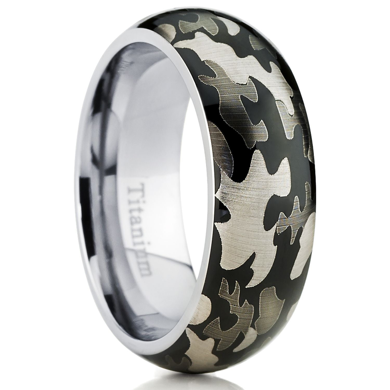 Men's Titanium Camouflage Military Ring Band, Comfort Fit Army Ring