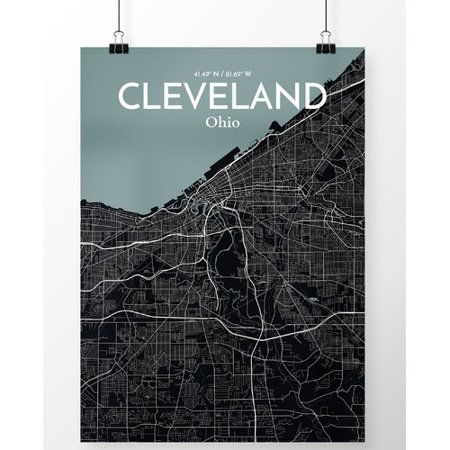 Ourposter Com Cleveland City Map Graphic Art Print Poster In Midnight