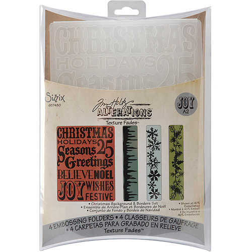 Tim Holtz Alterations Texture Fades Embossing Folders, Christmas Background & Borders
