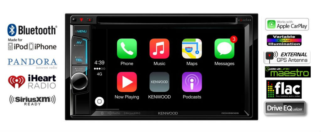 Kenwood eXcelon DDX6902S 6.2' Multimedia Receiver with CarPlay by Kenwood