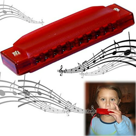 Childrens Harmonica (Dazzling Toys Kids Clearly Colorful Translucent Harmonica - 4 Inch Red)