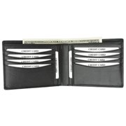 New Genuine Leather Removable Card ID Window Compact Multi-Card Wallet with Logo 600534-BK-LOGO