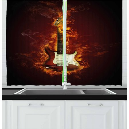 Guitar Curtains 2 Panels Set, Electric Guitar in Flames Burning Fire Hardrock Musical Creativity Concept, Window Drapes for Living Room Bedroom, 55W X 39L Inches, Maroon Orange Black, by Ambesonne - High Efficiency Electric Panel