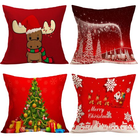 4 Pcs Christmas Pillowcases,Justdolife Snow Tree Letter Cow Pattern Cushion Covers Square Pillow Sham Shell Throw Pillow Cover Cushion Sofa Pillow Cover for Home Sofa Bed Living Room ()