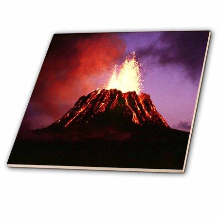 3dRose Hawaii Volcano Eruption at Night - Ceramic Tile, 6-inch