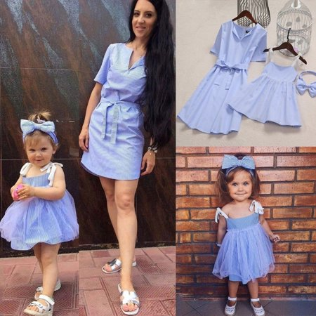 Mother and Daughter Stripe Dress Matching Women Kid Girls Casual Family Clothes - Family Dress