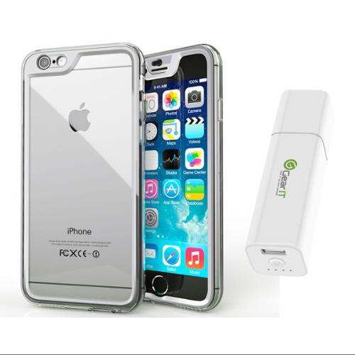 iPhone 6 Case Bundle (Case + Battery Pack), roocase iPhone 6 4.7 Gelledge Hybrid PC / TPU Protective Full Body Case Cover with Portable Battery Pack White for Apple iPhone 6 4.7-inch, Alpine White