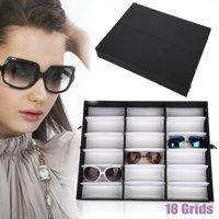 Ymiko 18 Grids Glasses Display Case Sunglasses Storage Box Organizer Glasses Jewelry Display Box,Eyeglasses Display Box,Jewelry Glasses Storage Case