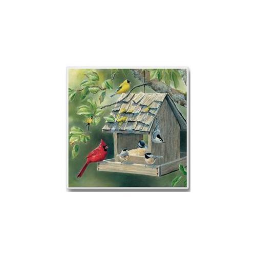 Take Flight Coasters Cardinal, Goldfinch and Chickadee on Birdfeeder Set of 6