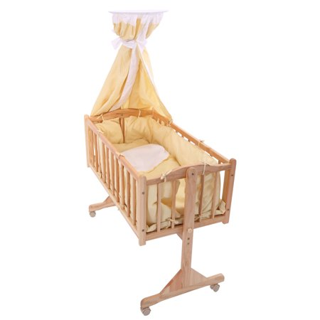 Jaxpety Baby Crib Bed Infant Toddler Lockable Cradle Rocking Baby Child Nursery Furniture Yellow