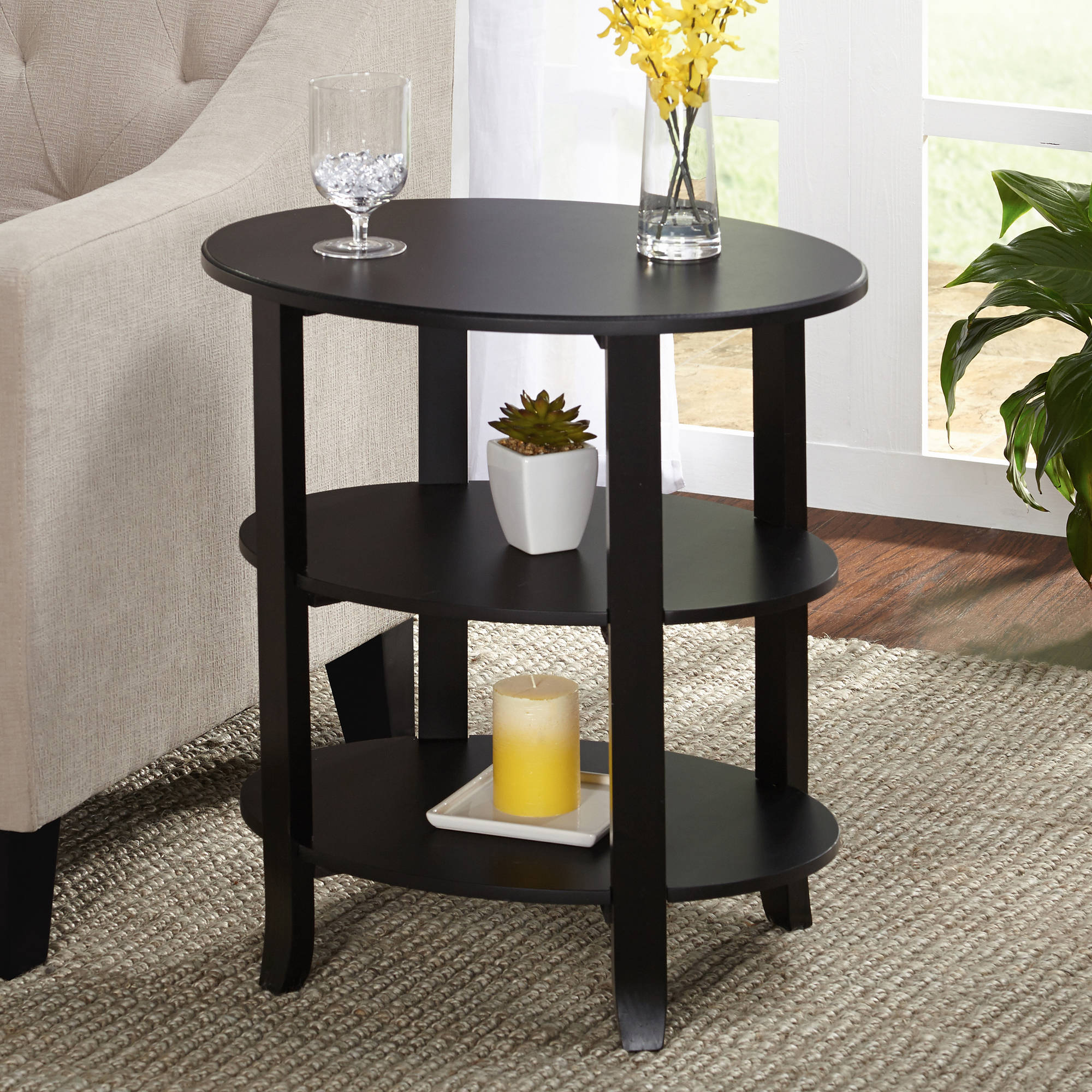 London 3-Tier Oval End Table, Multiple Finishes