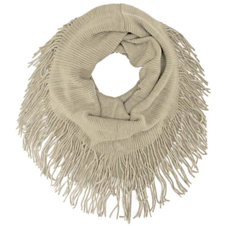 Ribbed Knit Infinity Scarf With Long -