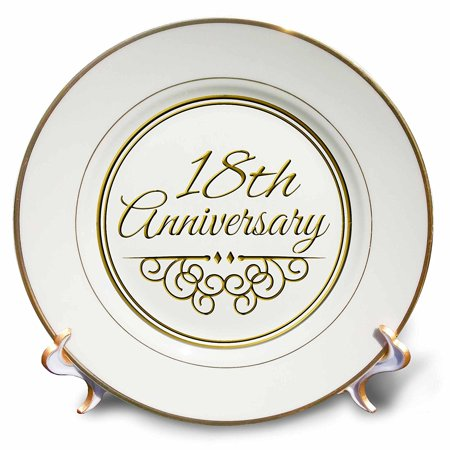 3dRose 18th Anniversary gift - gold text for celebrating wedding anniversaries - 18 years married together, Porcelain Plate, 8-inch - Plates And Cups For Wedding