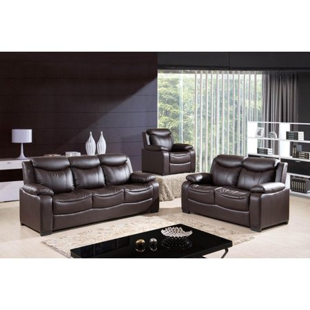 Mcferran Sf5506 Chocolate Sofa Loveseat Chair Bonded Leather Living Room Set 3pc