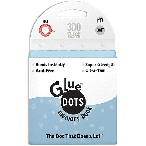 "Glue Dots 3/8"" Memory Dot Roll, 300 Clear Dots"
