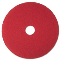 """3M 5100 19"""" Red Buffer Floor Pads, 5 count"""