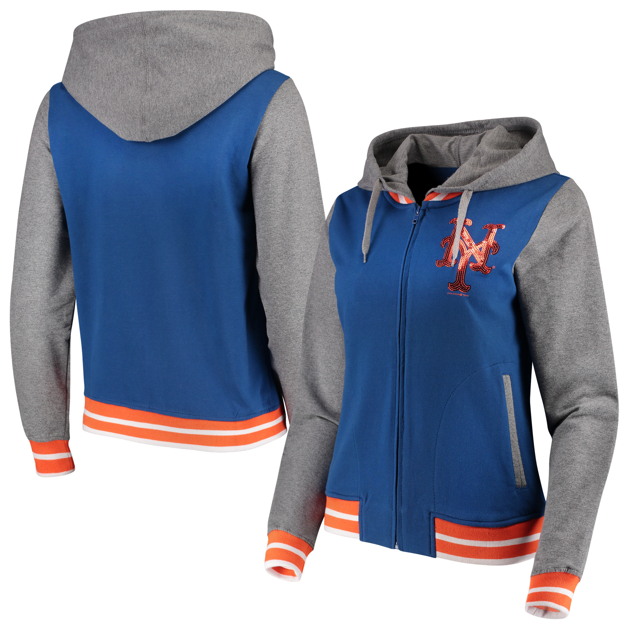 New York Mets 5th & Ocean by New Era Women's French Terry Full-Zip Hoodie - Royal/Gray