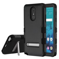 Kaleidio Case For LG Stylo 4 / Stylo 4 Plus [Natural TUFF] 3-Piece Hard Impact [Shock Absorbing][Kickstand]Hybrid Rubber Cover w/ Overbrawn Prying Tool [Black/Black]