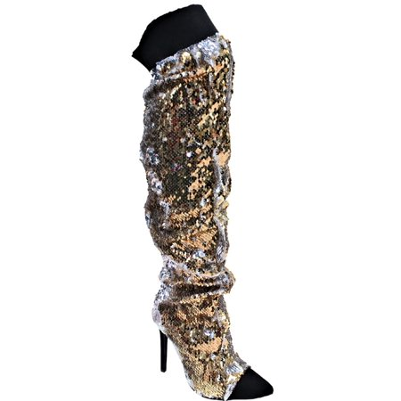 Luanza-30 Women Pointed Cap Toe Over Knee Thigh High Sequin Elastc Band Stiletto Heel Boots Gold for $<!---->