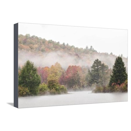 USA, New Hampshire, White Mountains, Fog drifting around Coffin Pond Stretched Canvas Print Wall Art By Ann Collins