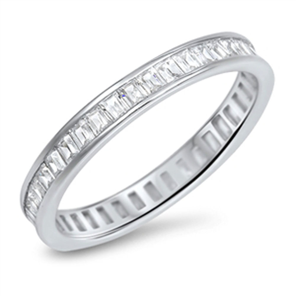 Stackable Eternity White CZ Wedding Ring ( Sizes 5 6 7 8 9 10 ) New 925 Sterling Silver Band Rings by Sac Silver (Size 10)