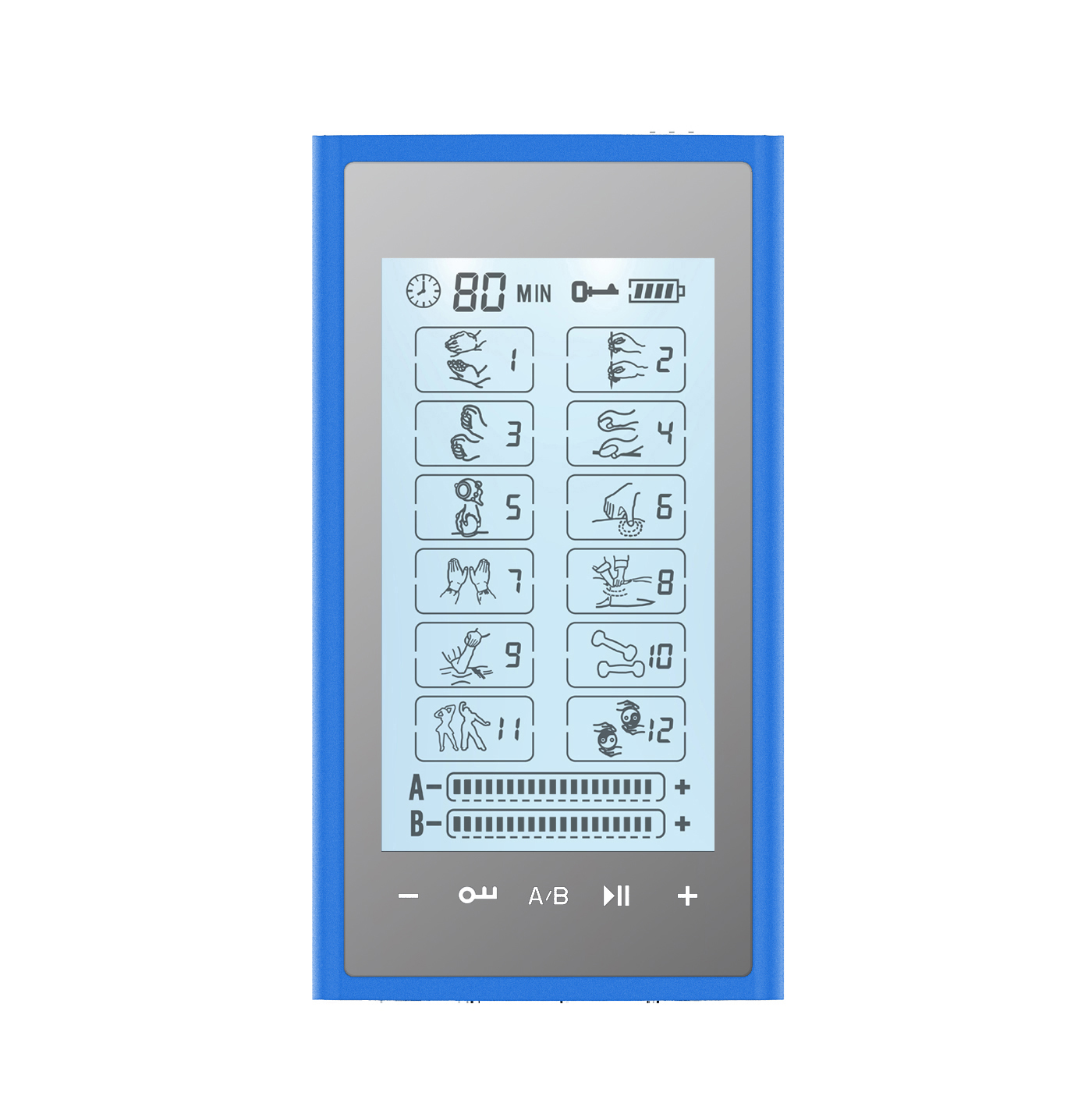 HealthmateForever T12AB2 Touch Screen TENS Muscle Recovery & Pain Therapy System (Blue on Silver)