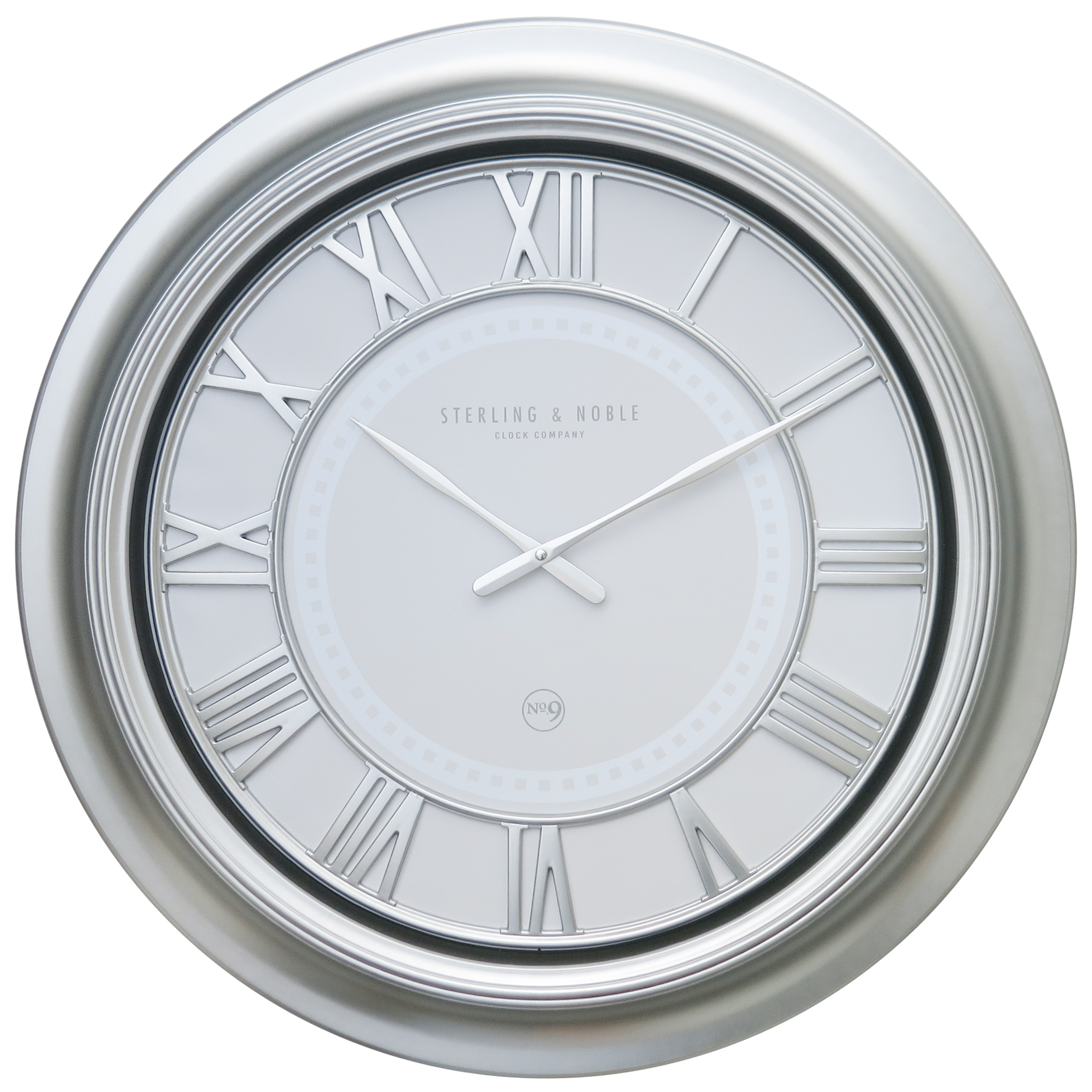 Better Homes & Gardens Modern Oversized 28in. Wall Clock, Silver