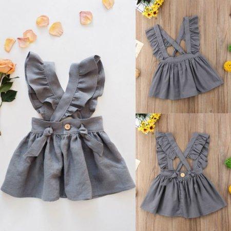 Summer Toddler Kids Baby Girls Cross Strap Dress Party Dress Fuffel Sleeve Solid Dress Clothes - image 1 de 1