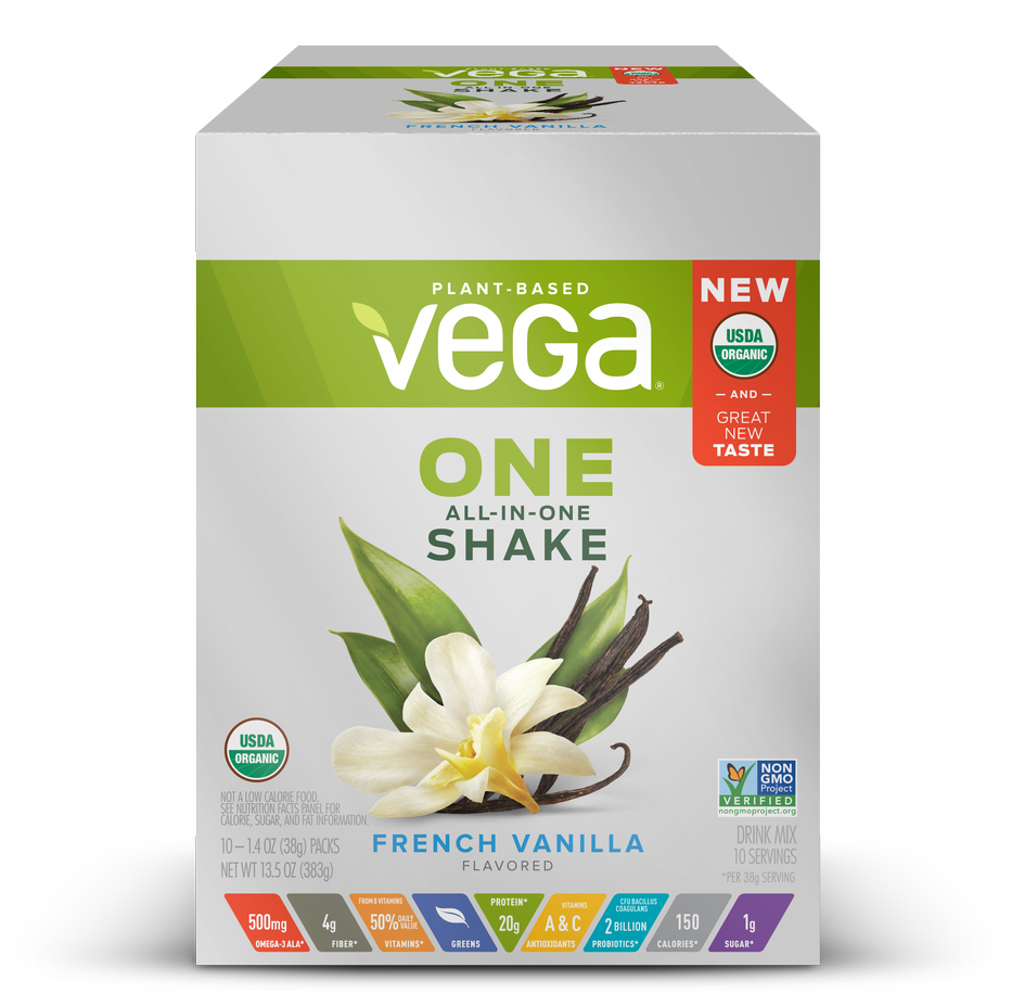 Vega One Organic All in One Shake, French Vanilla 1.4 oz, pack of 10