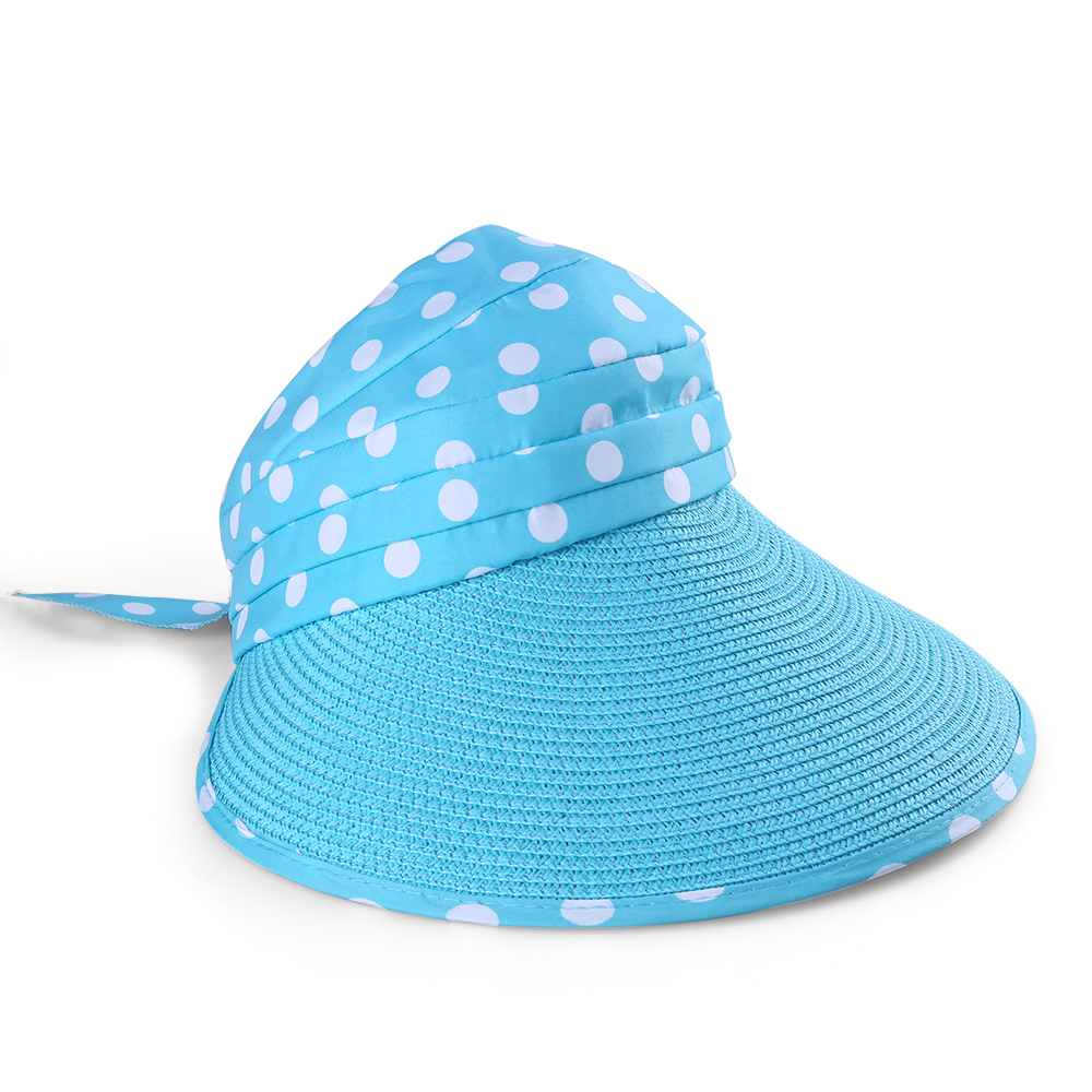 Women's and Girl's Polka Dot Straw Visor Wide Brim Hat