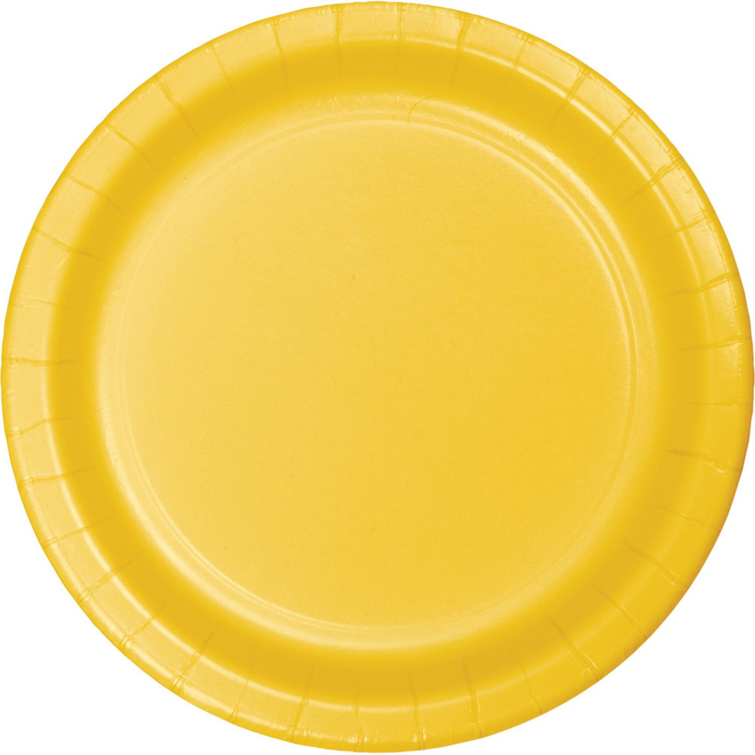 """Club Pack of 192 School Bus Yellow Disposable Paper Party Luncheon Plates 7"""""""