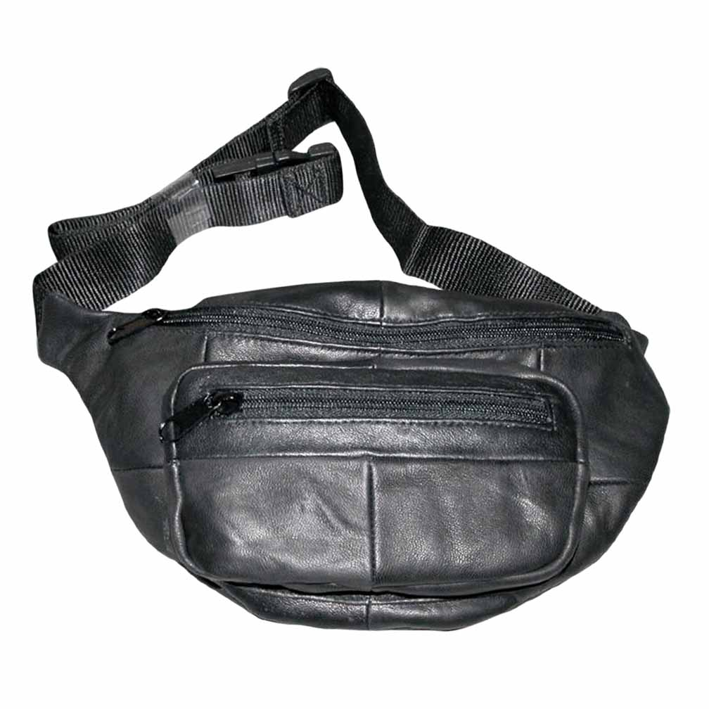 The Original Buxton Black Leather Bike Fanny Pack