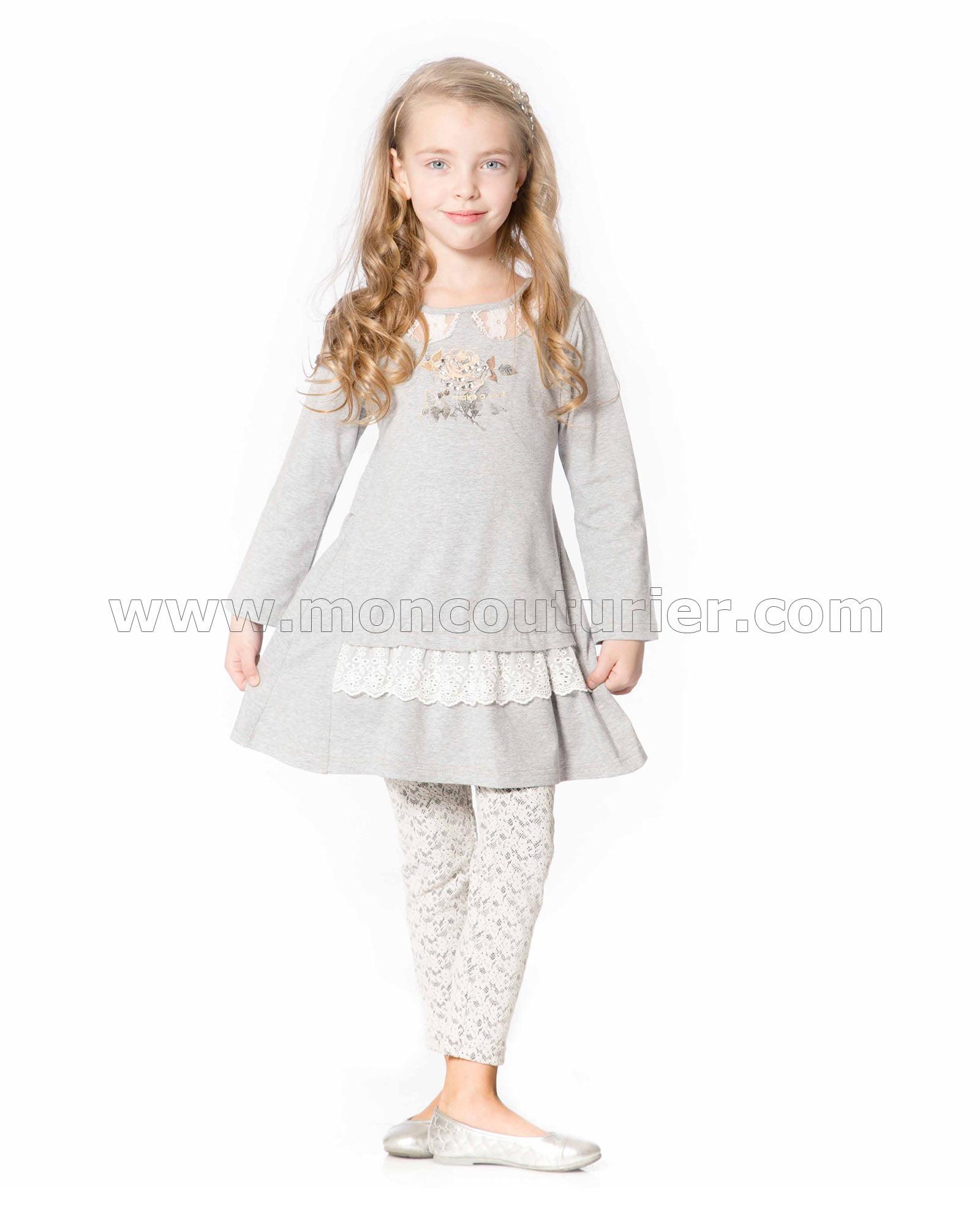 Deux par Deux Girls Gray Knit Leggings Dancing Queen Sizes 4-12