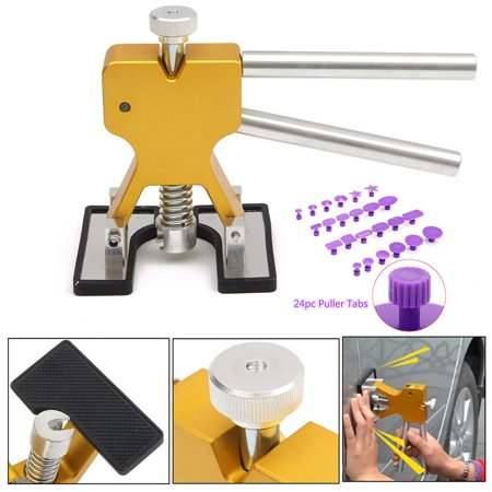 【Gifts for Him】Paintless Dent Repair Tools Grip PRO Slide Hammer with 24pcs Dent Removal Pulling Tabs Suction Cup Dent Puller Car Dent Repair Kits for Vehicle SUV Car Hail Damage Remover