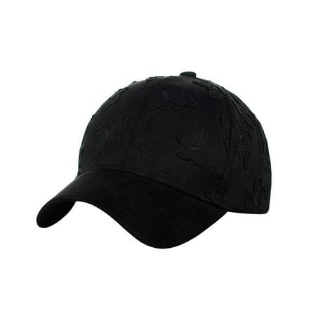 C.C Women's Butterfly Pattern Faux Suede Adjustable Precurved Baseball Cap Hat, Black](Blank Baseball Caps)
