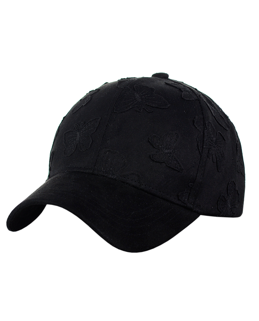 C.C Women's Butterfly Pattern Faux Suede Adjustable Precurved Baseball Cap Hat, Black