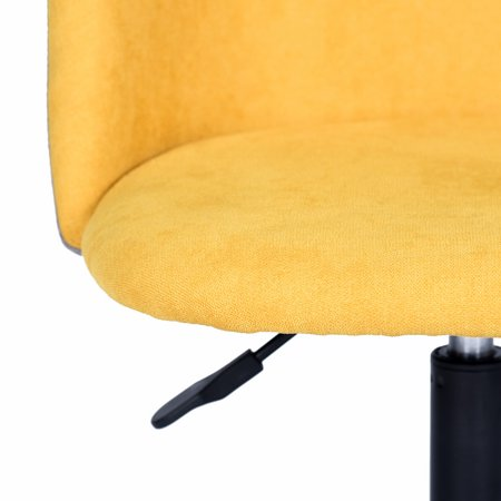 Mid-Back Swivel Computer Task Chair Adjustable Velvet Fabric Desk Office Chairs Yellow - image 1 de 8