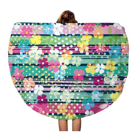 JSDART 60 inch Round Beach Towel Blanket Colorful Floral Cute Ditsy Flowers Pattern Little Small Liberty Travel Circle Circular Towels Mat Tapestry Beach Throw - image 1 of 2