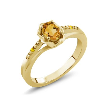 0.42 Ct Oval Yellow Citrine Yellow Sapphire 18K Yellow Gold Plated Silver Ring Oval Shaped Sapphire Ring