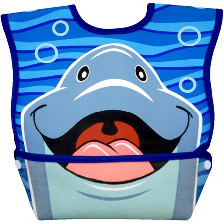 Dexbaby Big Mouth Dolphin Leak-Proof Dura Bib w/ Catch-All Pocket - Large | 6 months +