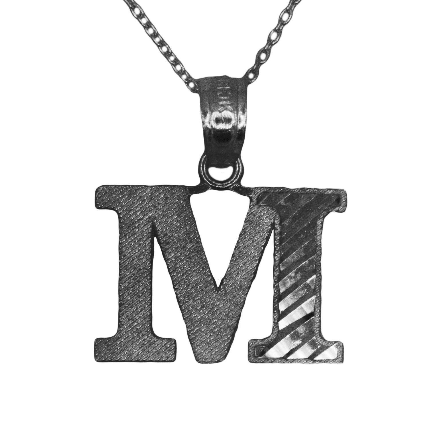 925 Black Rhodium Sterling Silver Letter M Initial with Diamond Cut Finish Pendant Necklace (No Chain)