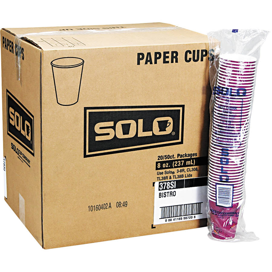 Solo Cup Company Bistro Design 8 Oz Paper Hot Drink Cups, Maroon, 50 count, (Pack of 20)