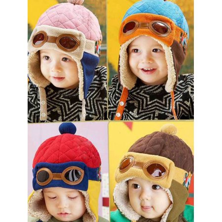 c231e4c3b12 Esho - Esho Toddler Baby Kids Girl Boy Winter Warm Woolen Pilot Caps  Earflap Hats - Walmart.com
