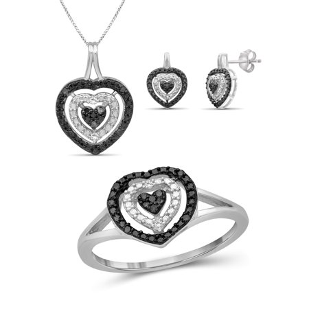 JewelersClub Black And White Diamond Accent Sterling Silver 3-Piece Heart Jewelry Set