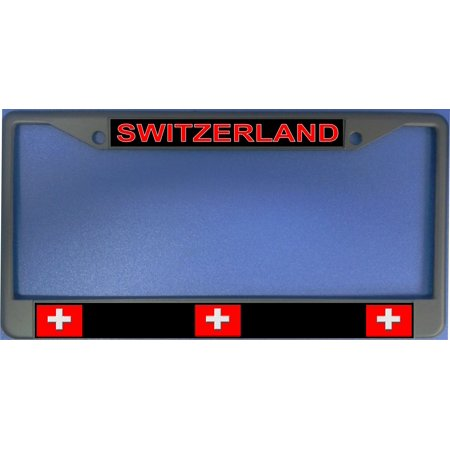 Switzerland Flag Photo License Plate Frame  Free Screw Caps with this Frame - image 1 of 1