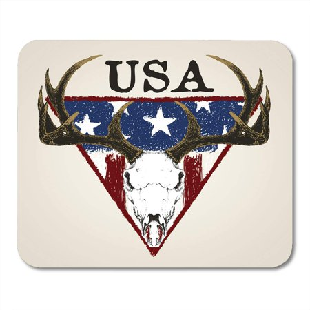 LADDKE Brown Hunting Doodle Deer Skull and American Flag Antler Anatomy Mousepad Mouse Pad Mouse Mat 9x10 (Mouse Anatomy)