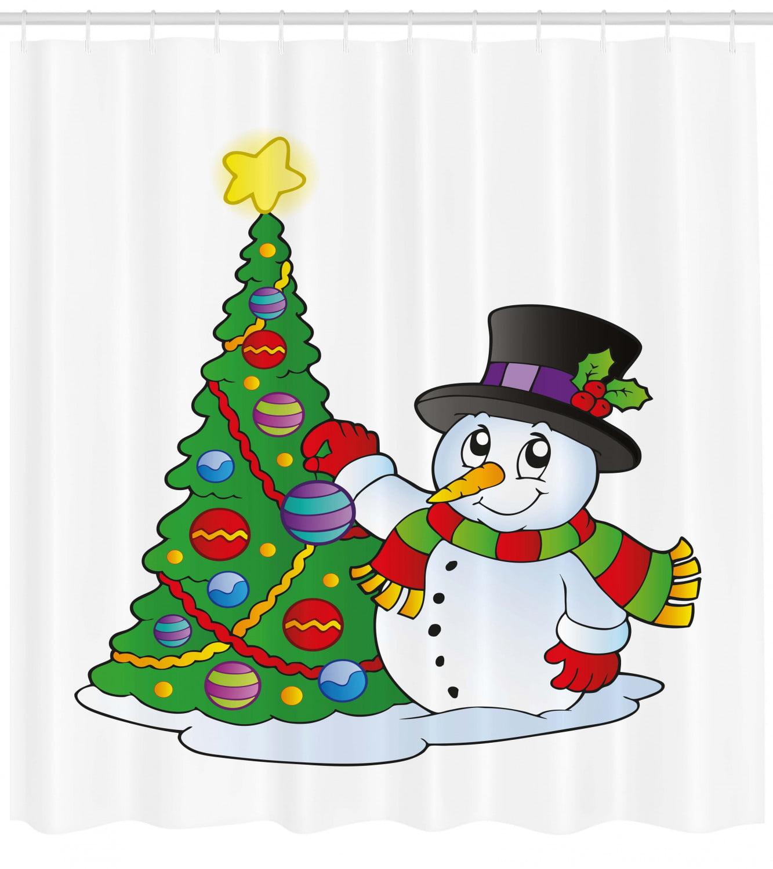 Snowman Shower Curtain Lovely Character Near A Christmas